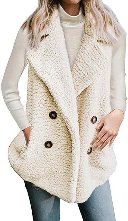 Womens Coat Gray, M Womens Vest Winter Warm Outwear Casual Faux Fur Zip Up Sherpa Jacket 2018