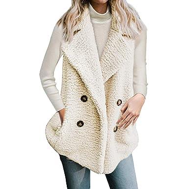 826981515a7f Tefamore Femmes Gilet d hiver Chaud Hoodie Outwear Décontracté Manteau  Fausse Fourrure Zip Up Sherpa
