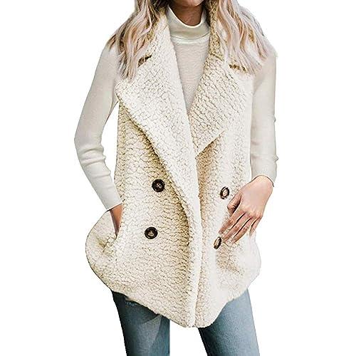 Beladla Chaleco de Invierno Mujer cálido Sudadera con Capucha Pelo  sintético Chaqueta Sherpa con Botón Jersey Sweater Abrigos  Amazon.es   Zapatos y ... ac03bb732463