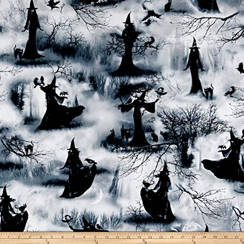 (Timeless Treasures Wicked Fog Spooky Witch Grey, Fabric by the Yard)