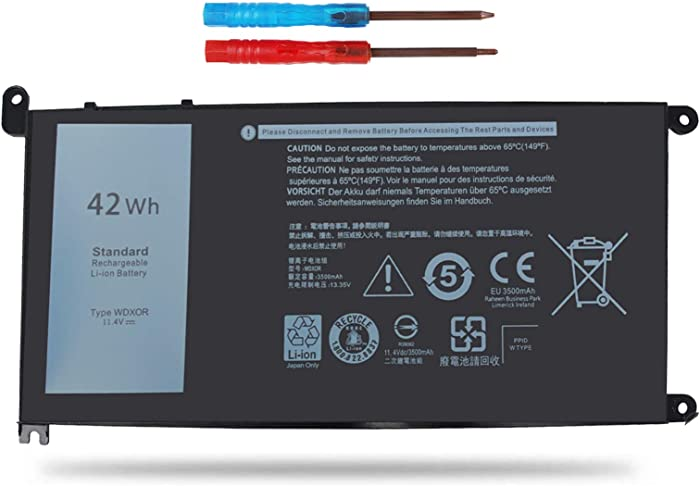 Vinpera WDX0R Laptop Battery for Dell Inspiron 13 5368 5378 7368 7378, Inspiron 15 5565 5567 5568 5578 7560 7569 7570 7579 P58F and Inspiron 17 5765 5767; fit P/N:T2JX4 3CRH3 FC92N