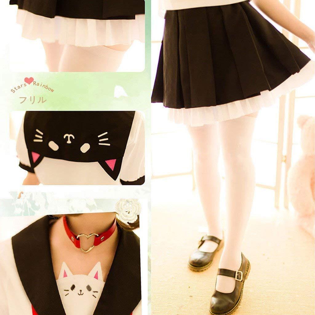 SSJ Japanese Sailor Uniform JK Cute Cat Girls High Neko Atume Style Costume White by SSJ (Image #6)