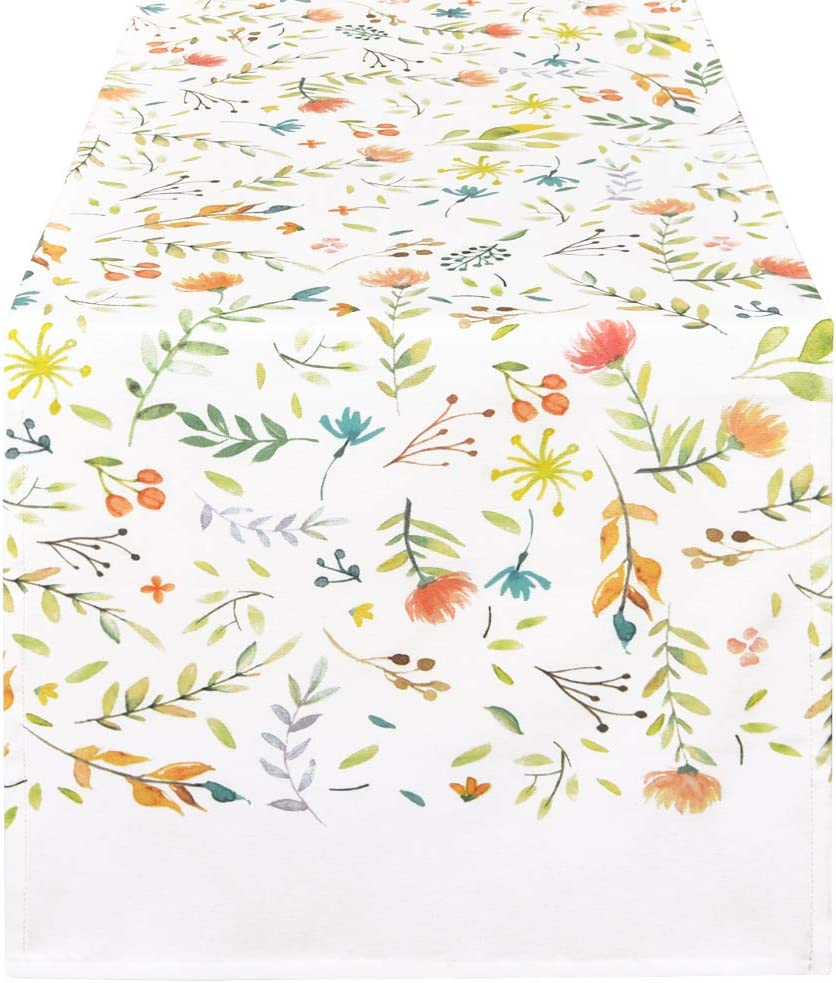 Alishomtll Floral Table Runner Watercolor Leaves and Flower Table Runners for Summer, Spring Holiday, Catering Events, Dinner Parties, Wedding, Indoor and Outdoor Parties