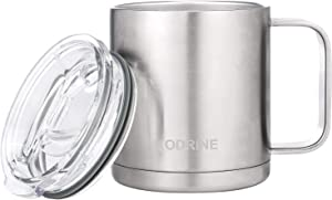 Insulated Coffee Mug 16oz Stainless Steel Double Wall Vacuum Insulated Mug with Lids and Handle Sliver