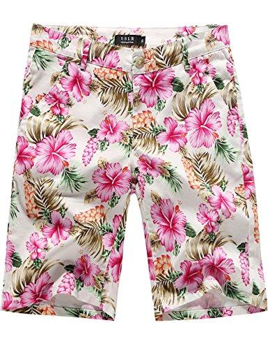 SSLR Men's Mid Rise Flat Front Casual Aloha Hawaiian Short (36, Pink)