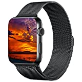 Apple Watch Band 42mm, KYISGOS Magnetic Closure Clasp Milanese Mesh Loop Stainless Steel Replacement iWatch Band for Apple Watch Series 2, Series 1, Black