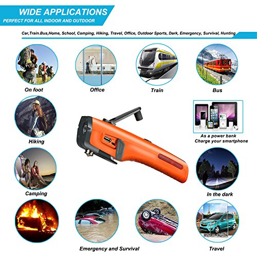 LUXON Emergency Tool 7-in-1 Car Safety Tool Includes Window Hammer Seat Belt Cutter LED Flashlight Rescue Tool Contains USB Charger SOS Light & Hand Cranking Charge for Vehicle Escape/Field Survival