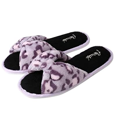 Amazon.com | Aerusi Women's Plush Fleece Open Toe Memory Foam Bow Spa Slip On Slippers Bedroom Indoor House Shoes | Slippers