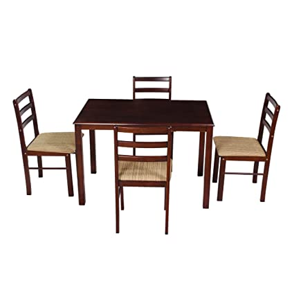 Woodness Winston Solid Wood Upholstered 4 Seater Dining Table Set (Wenge)
