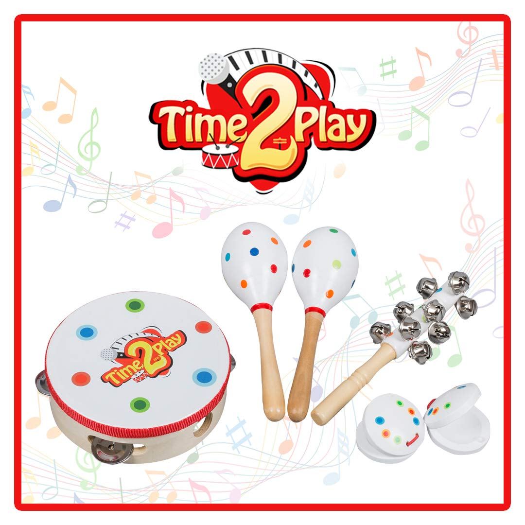 Time2Play Wooden Musical Instruments for Toddlers, Children & Babies Includes 2 Maracas, 1 Tambourine, 2 Castanets, 1 Hand Bell Perfect Music Toys to Create a Wonderful Family Band