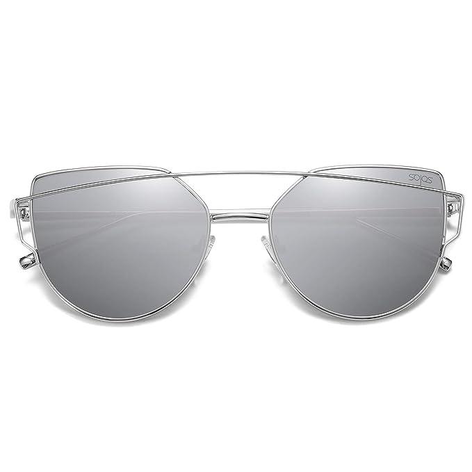 SOJOS Gafas De Sol De Moda Marca Metal Para Mujer-Lentes Planos De Espejo- Con Estilo Ojo De Gato SJ1001 Plateada Frente/Plateada Lentes