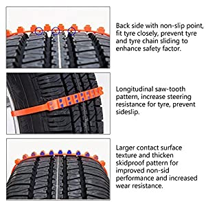 iTrustech Snow Chains,Anti-skid Emergency Snow Tyre Chains Car Belting Straps,Portable Emergency Anti-Slip Chains, Nylon Tire Snow Chains for Winter Driving(10 PCS)