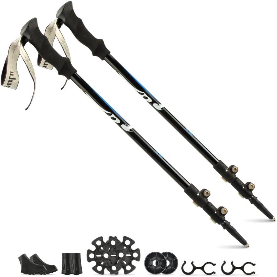 KOLLIEE Adjustable Hiking Poles Aluminum Lightweight Trekking Poles for Men Women Adjustable Anti Shock Hiking Sticks