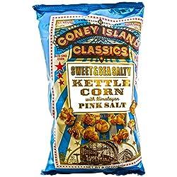 Coney Island Classics Himalayan Pink Salt Sweet & Sea Salty Kettle Corn Gluten Free Non GMO Vegan Popcorn 8 Oz Large Bag (12 Count)