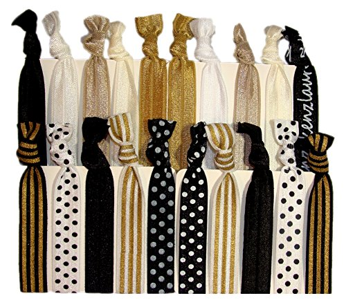 Kenz Laurenz 20-Pack Black White Gold Dots Striped Hair Bands with Ponytail Holder (Hair Band Gold)