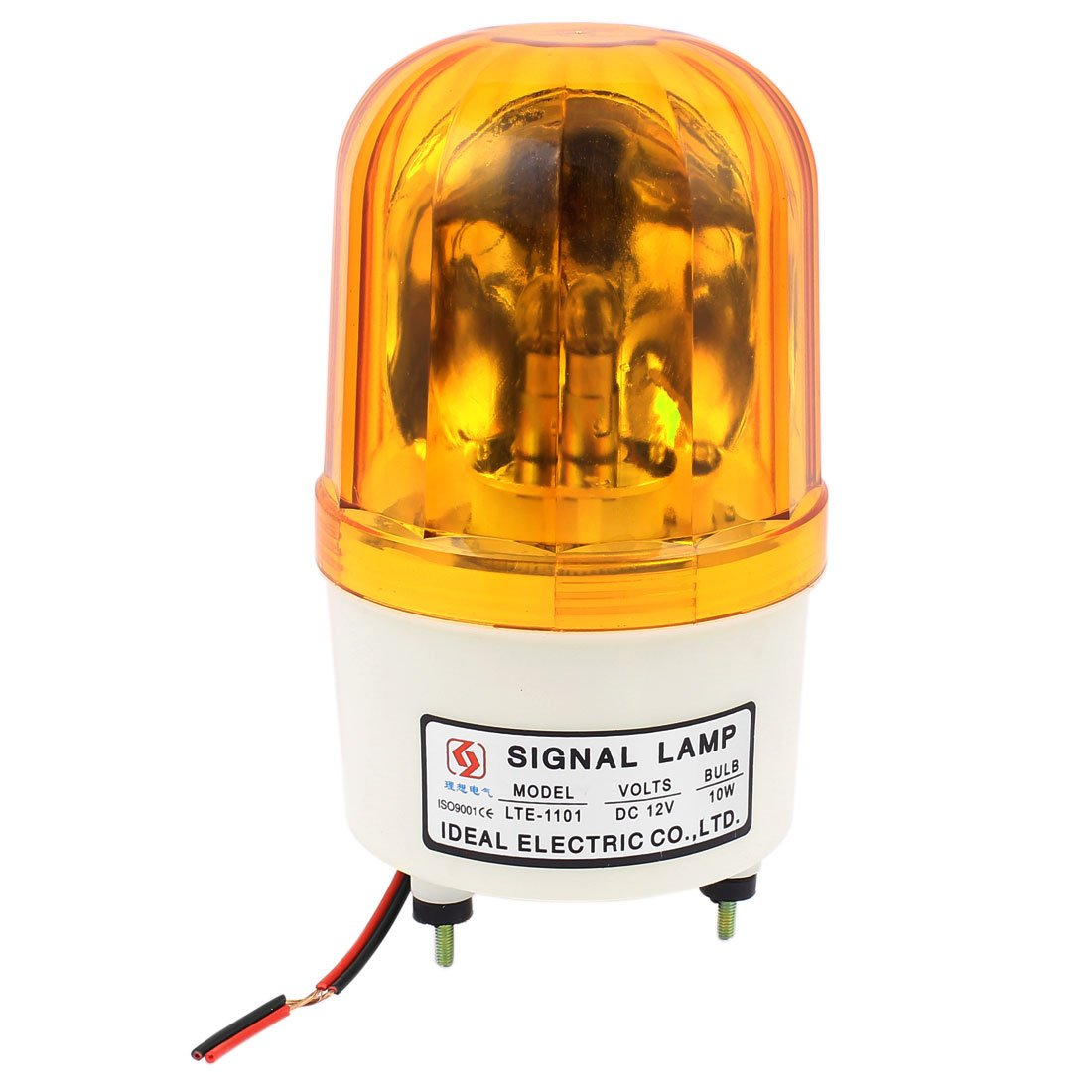 uxcell LTE-1101 DC 12V 10W Industrial Yellow Rotary Lamp Warning Signal Light