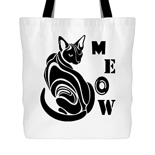 9f049743c Cat Tote Bag - Meow Cat Handbags Design (White Tote Bag): Amazon.ca ...