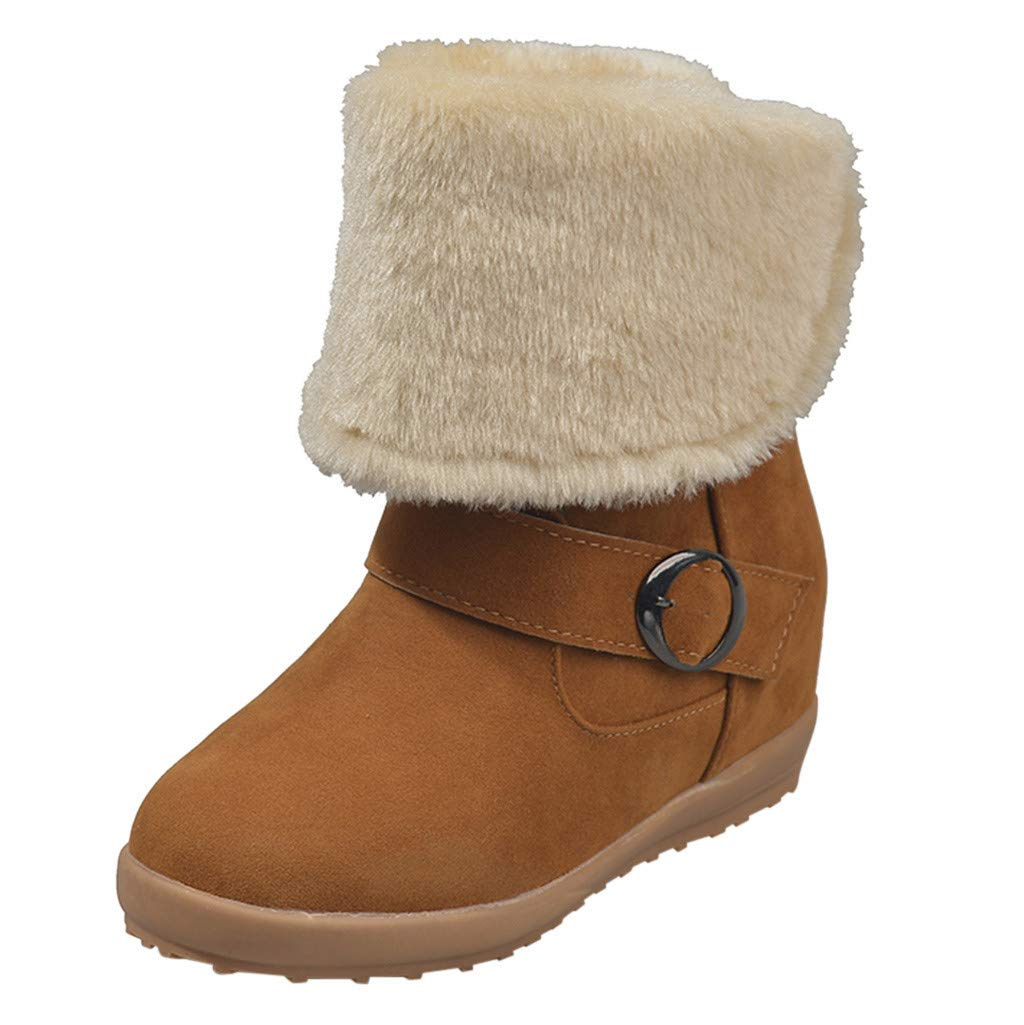 Women Winter Snow Boots Suede Faux Round Toe Fur Lining Warm Short Mid Calf Comfort Flat Boots (US:9.5-10.0, Brown)