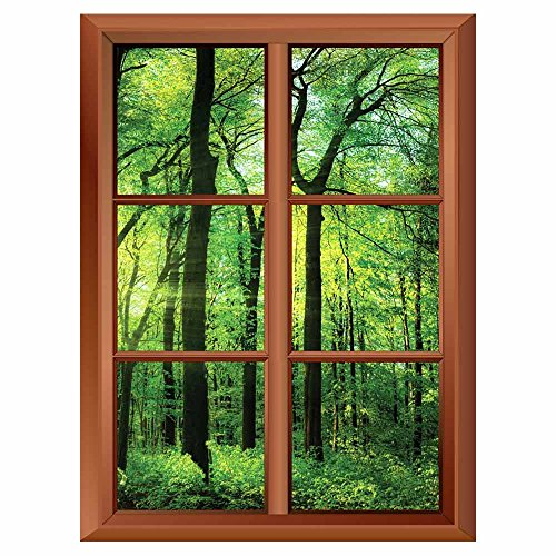 Removable Wall Sticker Wall Mural Tree in Morning Sunrays Creative Window View Vinyl Sticker