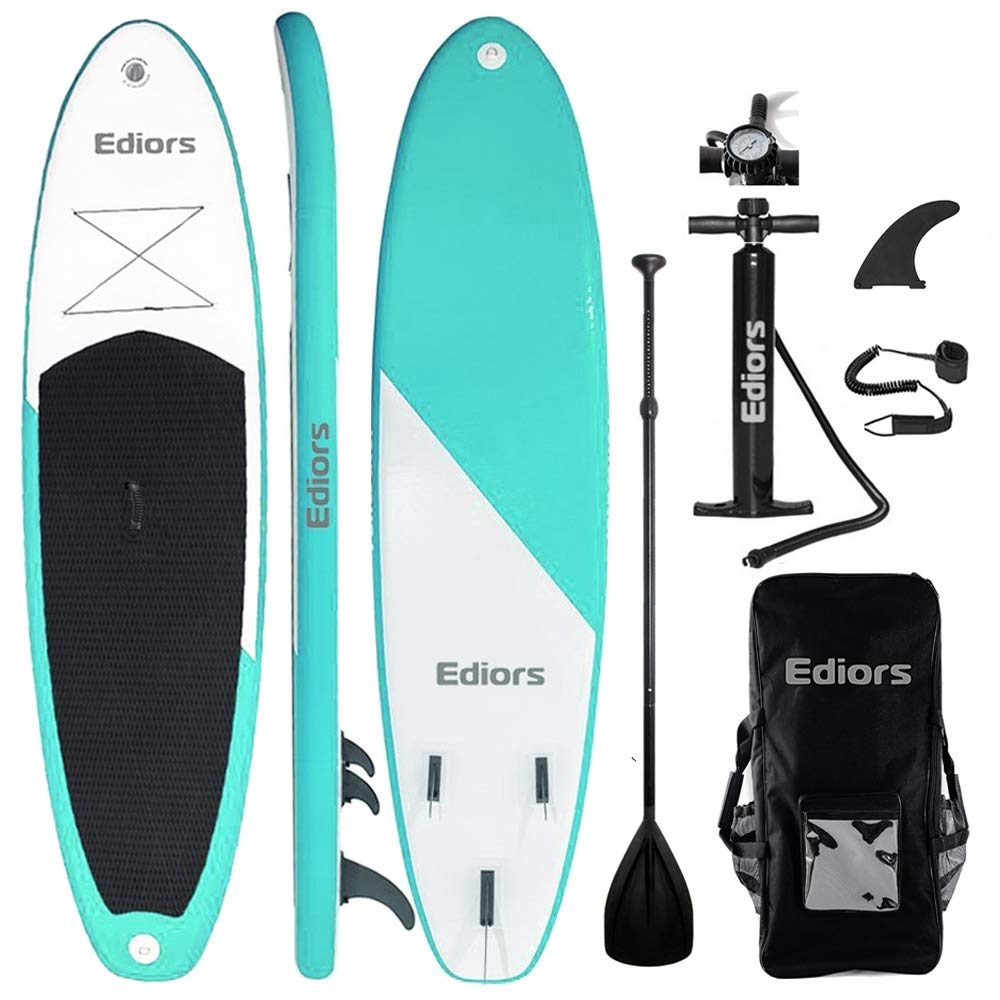 Inflatable SUP Stand Up Paddle Board Paddle(6 in Thick) Universal Accessories Wide Stance w/Bottom Fin for Paddling and Surf Control | Non-Slip Deck | ...