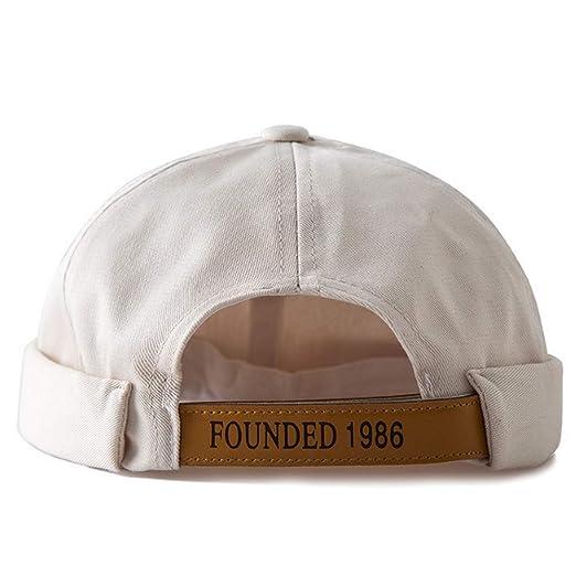 Clape Docker Leon Beanie Cap Hat Rolled Cuff Retro Strap-Back Cap Beige 56d490dc731e