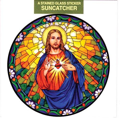 - Sacred Heart Window Decal, Reusable Vinyl Suncatcher, Stained Glass Design