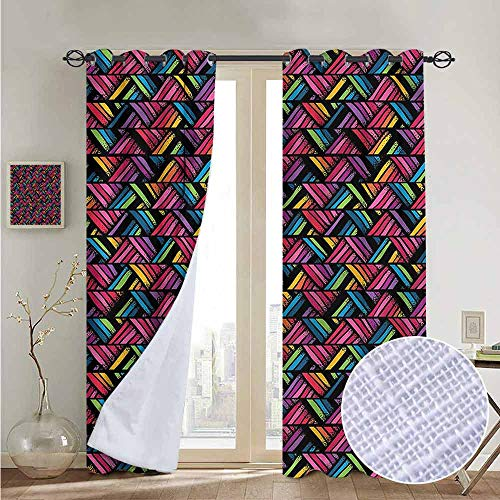 NUOMANAN Customized Curtains Doodle,Chevron Style Zigzag Lines,Blackout Thermal Insulated,Grommet Curtain Panel 1 Pair84 x100