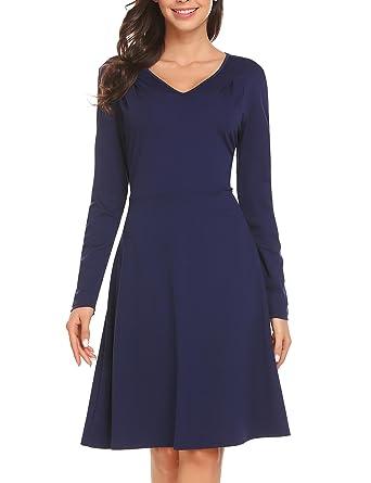 BURLADY Women s Casual Long Sleeve Velvet Solid A-Line Pleated Hem Sexy  Swing Dress b4dbc51fb