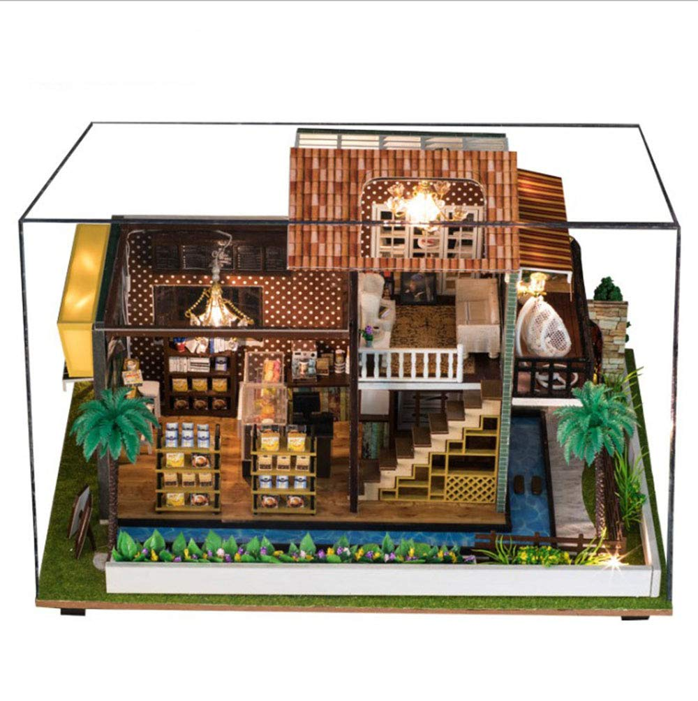 3D Wooden Puzzle Doll House, Handmade Coffee House Model Villa, Assembled Toys, DIY Cabin with Led Lights + Dust Cover and Music, Creative Birthday Gift B07LGL8M97 3D-Puzzles Stil   | Verkauf Online-Shop