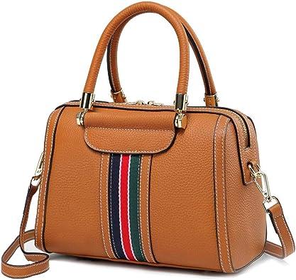 Genuine Leather Women/'s Boston Bag Crossbody Shoulder Bag Satchel Tote Handbags