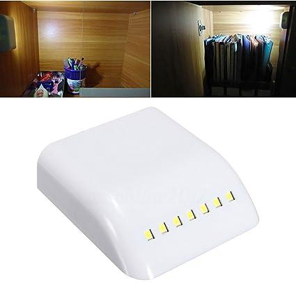 Sensor de movimiento, luz LED para armario nocturno sin cable, funciona con pilas,