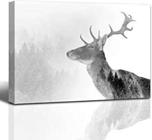 The Melody Art giclee Deer in The Snowy Mountains Wall Art Kitchen Accessories Wall Decorations for Living Room 12x16 in 1 PCS Stretched and Framed