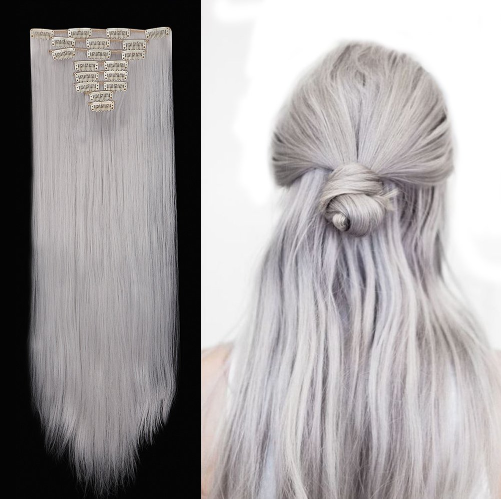 Clip in Hair Extensions Synthetic Full Head Charming Hairpieces Thick Long Straight 8pcs 18clips for Women Girls Lady (26 inches-straight, silver gray)