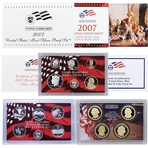 - 2007 S U.S. Mint Silver Proof Set - 14 Coins - OGP Superb Gem Uncirculated