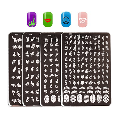 WOKOTO Nail Stamp Kit With Plates 4 Pcs Large Size Small Flower Animal Image Rectangle Stainless Steel Templates For ()