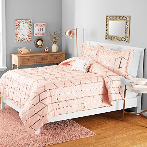 Your Zone 3 Pcs Metallic Print Mini Comforter Set with Dec Pillow - Twin - 100% Polyester 5 oz 6D Filling, Channel Stitch Quilting