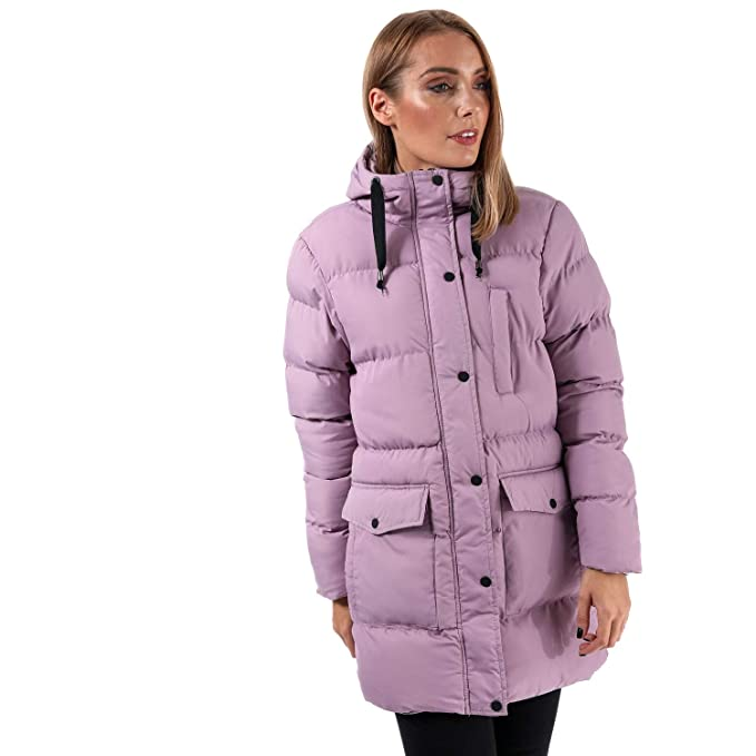 Brave Soul Ladies Snowstar Padded Jacket Womens Quilted Long Hooded Parka Coat