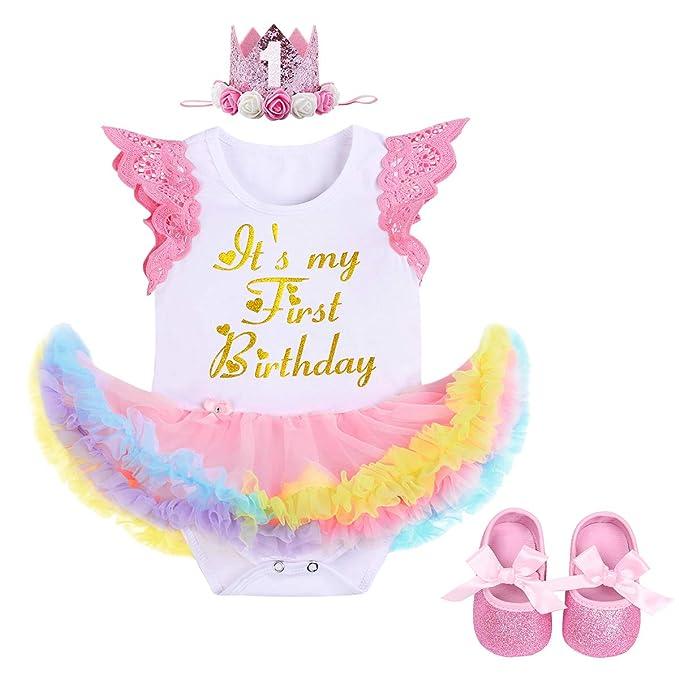 f4927b899a8fa Princess Unicorn Costume First Birthday Party Baby Girl Romper Tutu Dress  Headband Summer Clothes Outfits Photo Prop 2pcs Set