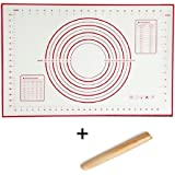 Sfb Silicone Fiberglass Baking Mats 23.6x15.7in and Wood Rolling Pin 8.27in SET (Red)