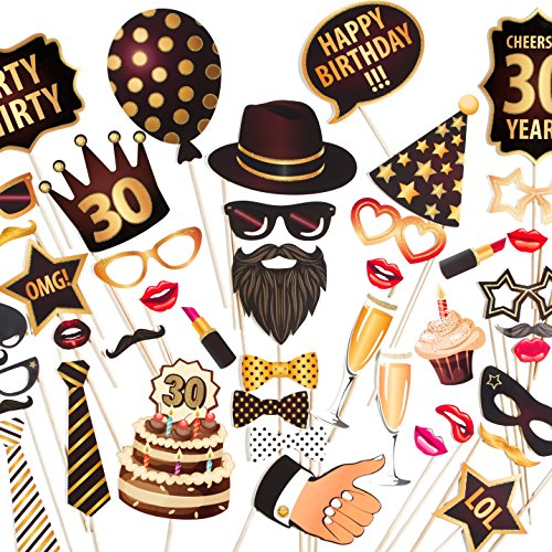 ZEZAZU Happy 30th Birthday Party Photo Booth Props - Made in Europe - Funny DIY Kit 44 Pieces Luxury Edition with Real Glitter]()