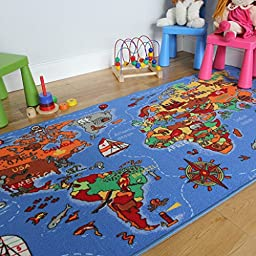 Educational FUN Colourful World Map Countries & Oceans Kids Rugs 4\'4\