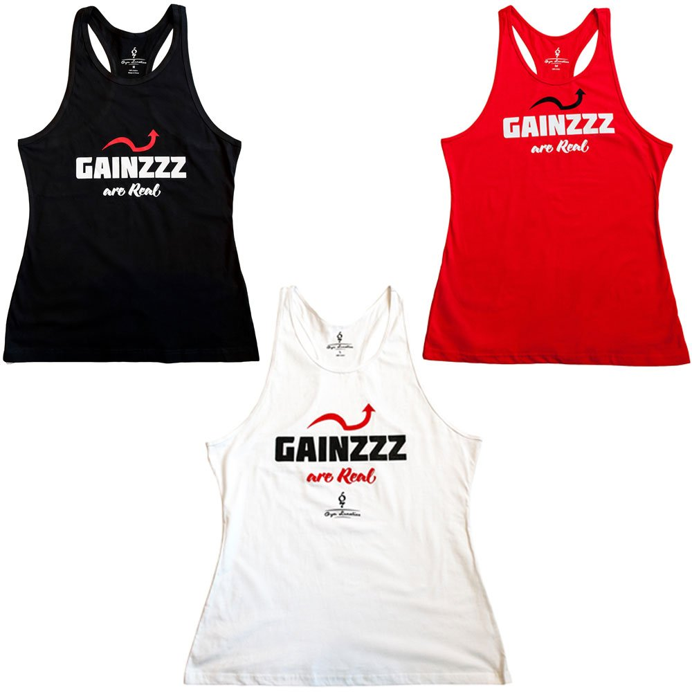 dcc874f5f1162 Amazon.com  Mens Gainzzz are Real Racerback Stringer Tank Top Cotton T Shirt  for Gym Workout  Clothing