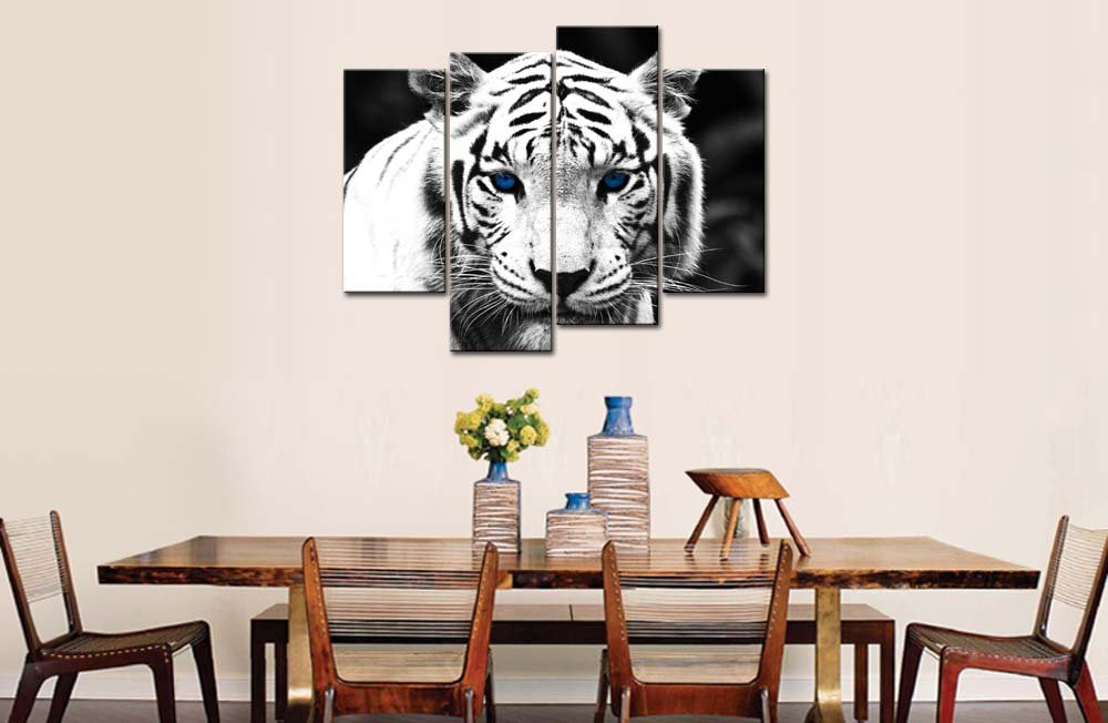 Black & White 4 Panel Wall Art Painting Blue Eyed Tiger Prints On ...