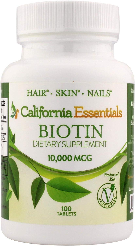 California Essentials High Potency Biotin 10000mcg Tablets - Daily Healthy Hair Skin and Nails Vitamins; Vegetarian Biotin for Hair Growth – 100 Count (100)