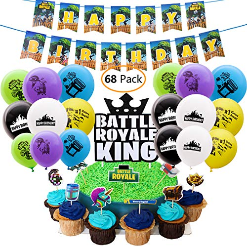 (DMight Birthday Party Supplies for Game Fans, 68 Pcs Party Favors - 49 Pcs Cake Topper, 18 Pcs Balloons(6 styles), 1 Pcs Banner)