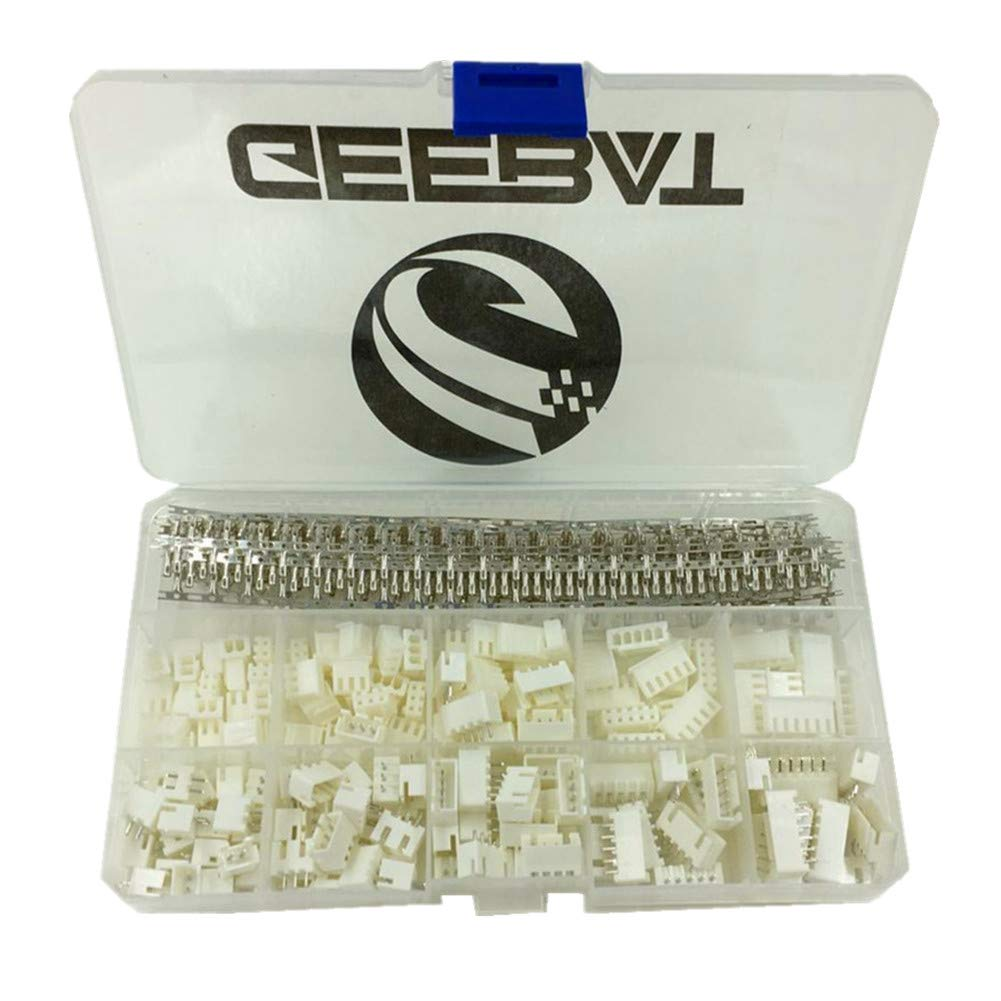 Geebat 460pcs 254mm Jst Xh Connector Kit With Dmx 5 Pin Wiring Female Header And 2 3 4 6 Housing Adapter Plug