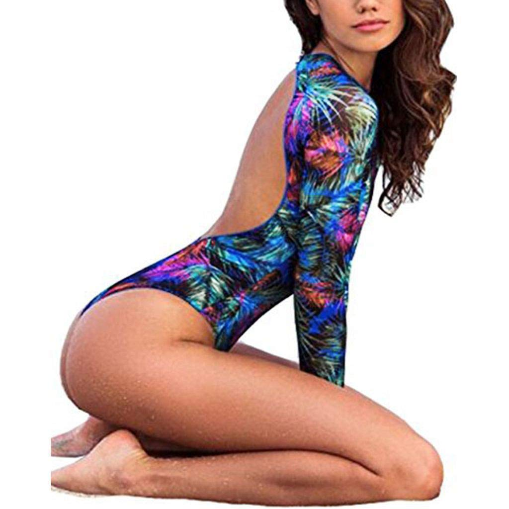 aliveGOT Womens Rashguard Long Sleeve UV Protection Print Surfing Swimsuit