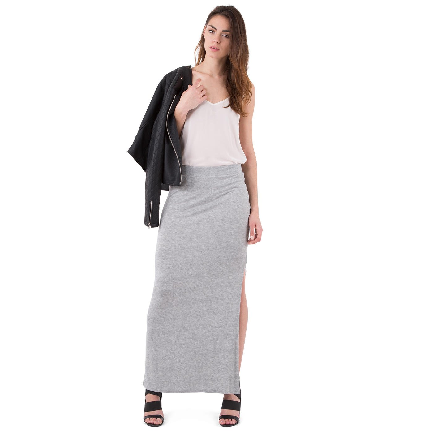 Mim - Falda larga con raja - Mujer - XL - GRIS MOTEADO: Amazon.es ...
