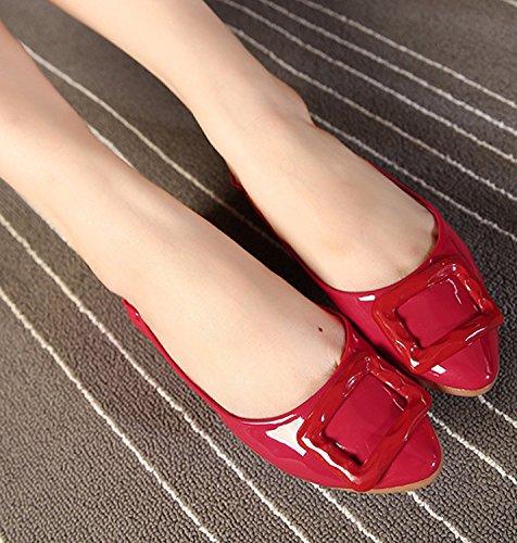 Minetom Damen Elegant Pu-Leder Sommer Frühling Herbst Beiläufige Flache Schuhe Rot