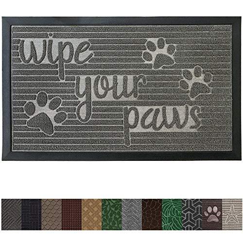 Gorilla Grip Original Durable Rubber Door Mat (29 x 17) Heavy Duty Pet + Dog Doormat, Indoor Outdoor, Waterproof, Easy Clean, Low-Profile Mats for Entry Garage, Patio, High Traffic Areas (Stone Paws) - 2 Beveled Door